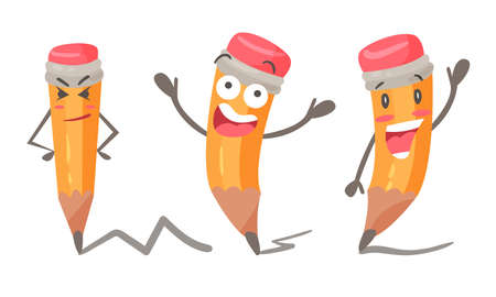 Cute Humanized Pencil Character With Arms And Face Vector Set