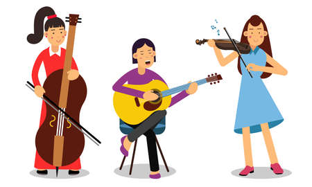 Woman Musicians Playing Musical Instruments And Singing On Stage Vector Illustration Set  イラスト・ベクター素材