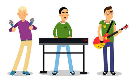 Man Musicians Playing Musical Instruments And Singing On Stage Vector Illustration Set