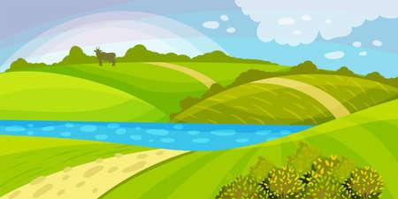 Green Landscape with Hills, River and Clear Sky Vector Illustration Ilustração