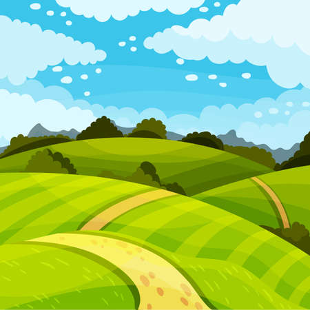 Green Landscape with Hills, Fields and Clear Sky Vector Illustration