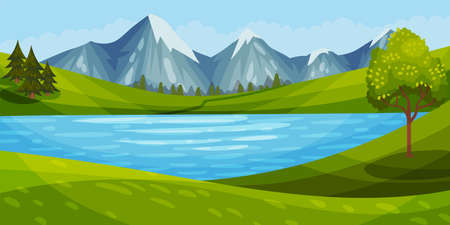 Mountain Peaks, River and Clear Sky as Green Landscape Vector Illustration