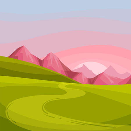 Mountain Peaks, Winding Country Road and Sunset as Green Landscape Vector Illustration