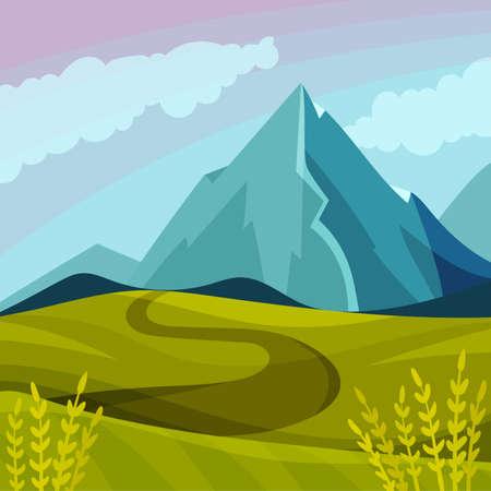 Green Landscape with Mountain Peaks, Grassy Hills and Clear Sky Vector Illustration Ilustração