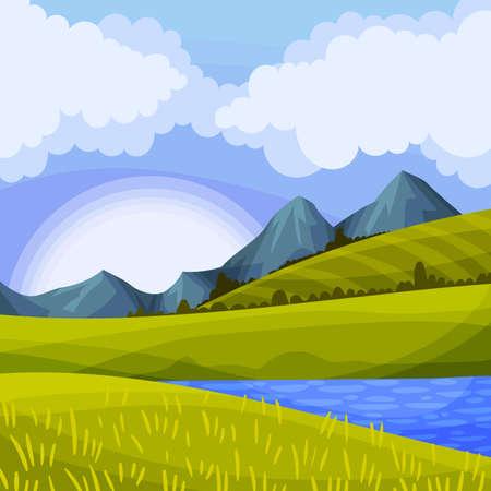 Mountain Peaks, Lake and Grassy Hills as Green Landscape Vector Illustration Ilustração