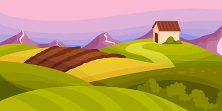 Country View with Soil, Pasture Land and Winding Road as Green Landscape Vector Illustration
