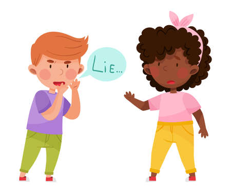 Little Boy Telling Lie to His Agemate Girl Vector Illustration