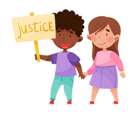 Happy Boy and Girl Characters Holding Hands and Justice Placard Vector Illustration