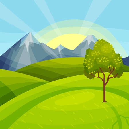 Green Landscape with Mountain Peaks, Grassy Hills and Clear Sky Vector Illustration Illustration