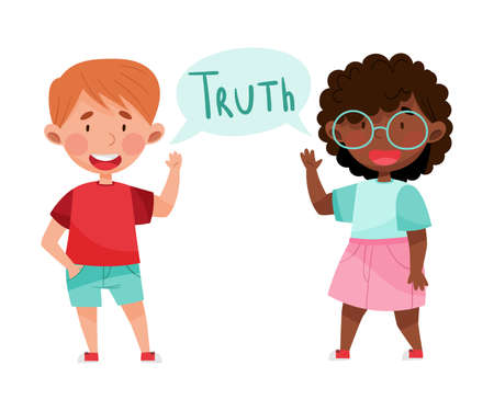 Happy Boy and Girl Characters Telling Truth Vector Illustration