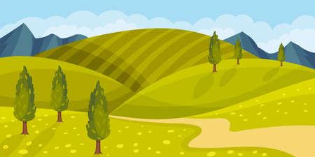 Grassy Hills and Winding Road as Green Landscape Vector Illustration Ilustração