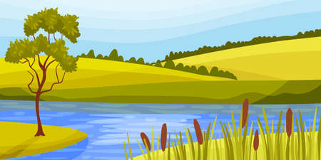 Lake and Pasture Land with Grassy Hills as Green Landscape Vector Illustration