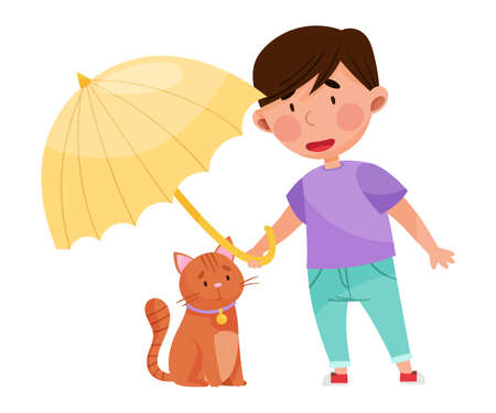 Little Boy Covering Cat with Umbrella Protecting Vector Illustration