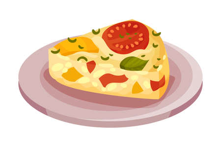 Frittata or Omelette with Cheese and Vegetables as Italian Cuisine Dish Vector Illustration