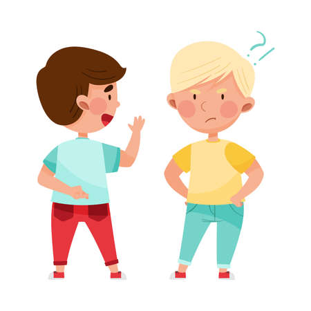 Little Boy Telling Lie to His Agemate Vector Illustration