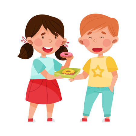 Friendly Girl Character Sharing Doughnut with Her Agemate Boy Vector Illustration