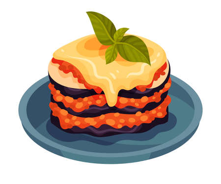 Cooked Eggplant Slices Layered with Forcemeat as Italian Cuisine Dish Vector Illustration