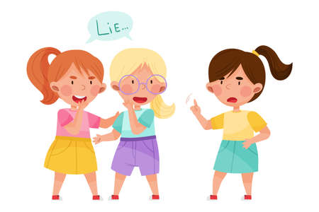Little Girl Telling Lie to Her Agemate Vector Illustration  イラスト・ベクター素材
