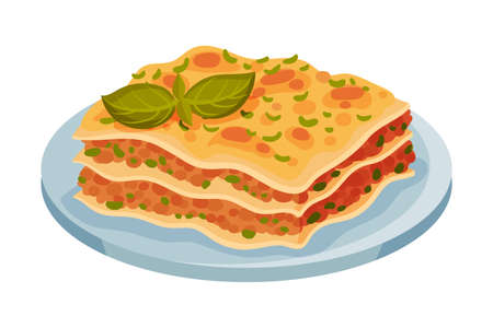 Italian Lasagna Dish with Stacked Pasta Layers with Meat and Tomato Filling Vector Illustration