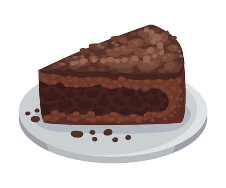 Piece of Chocolate Cake as Italian Cuisine Dessert Vector Illustration