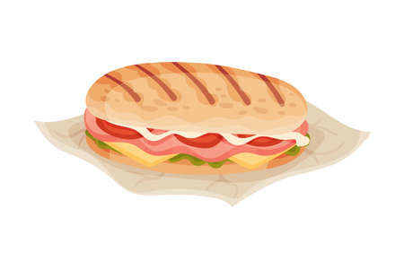 Panini Stuffed with Ham and Tomatoes as Italian Cuisine Dish Vector Illustration