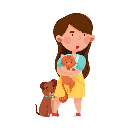 Little Brave Girl Holding Cat in Arms Protecting from Hooligan Vector Illustration