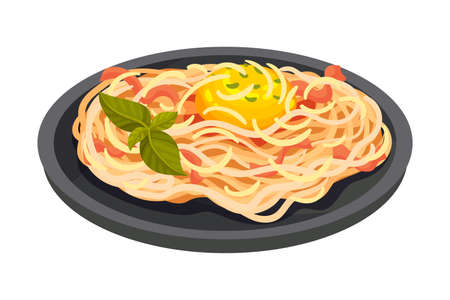 Spaghetti with Meat as Italian Cuisine Dish Vector Illustration