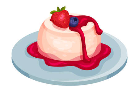 Panna Cotta Garnished with Strawberry as Italian Cuisine Dessert Vector Illustration