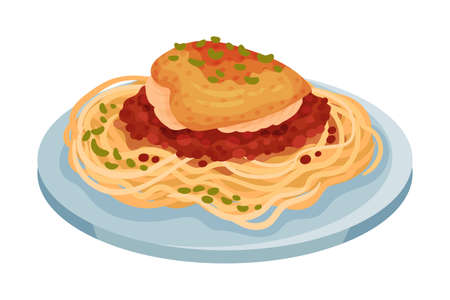 Spaghetti with Baked Chicken Fillet with Tomato Sauce as Italian Cuisine Dish Vector Illustration Ilustração