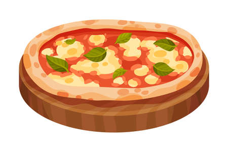 Italian Pizza with Round Flattened Dough Topped with Sliced Tomatoes and Greenery Vector Illustration