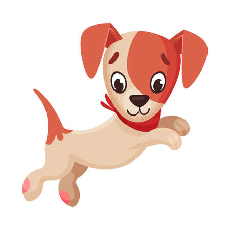 Jack Russell Terrier Character Jumping and Wriggling Tail Vector Illustration