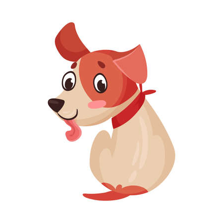 Funny Jack Russell Terrier Character Sitting and Wriggling Tail Vector Illustration