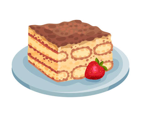 Italian Tiramisu Cake Layered with Whipped Cream and Mascarpone Cheese Vector Illustration