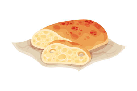 Freshly Baked Bread as Italian Cuisine Pastry Vector Illustration