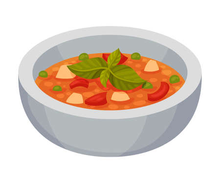 Minestrone Vegetable Soup as Italian Cuisine Dish Vector Illustration