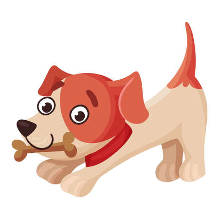 Jack Russell Terrier Character Stretching with Bone in Its Mouth and Wriggling Tail Vector Illustration