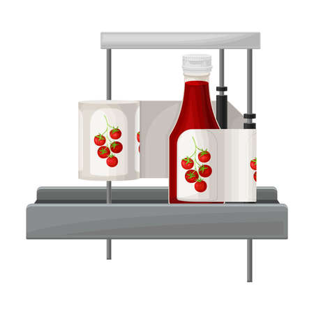 Ketchup Manufacturing with Labeling Bottle with Tomato Sauce Vector Illustration