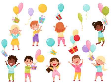 Kid Characters Throwing Gift Boxes with Balloons Vector Illustration Set