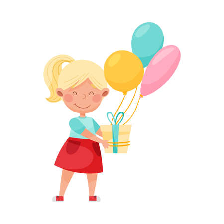 Cute Girl Character Holding Gift Box with Balloons Vector Illustration Ilustração