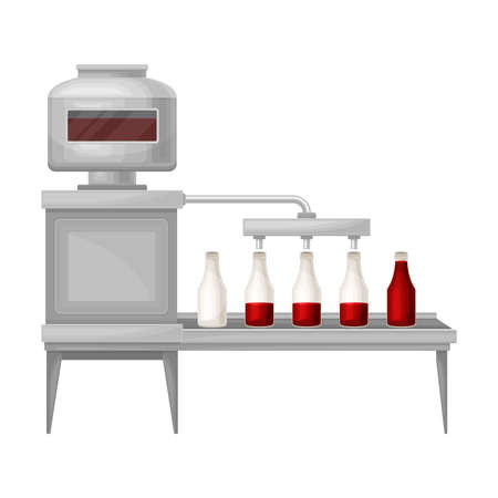 Ketchup Manufacturing with Tomato Sauce Pouring in Bottle Vector Illustration Ilustração