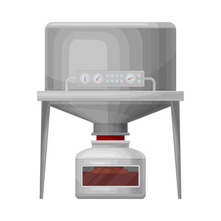 Ketchup Manufacturing with Tomato Sauce Boiling in Tank Process Vector Illustration