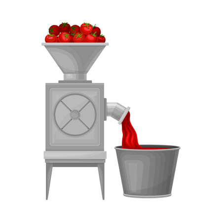 Ketchup Manufacturing with Tomato Squeezing in Bowl Process Vector Illustration