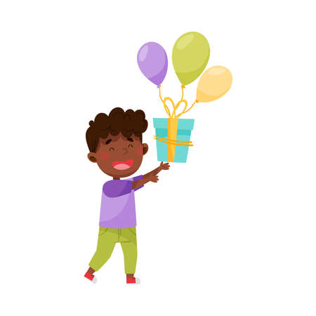 Joyful African American Boy Character Catching Gift Box with Balloon Vector Illustration