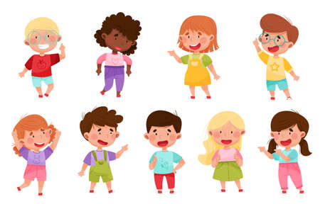 Kid Characters Pointing at Something with Their First Finger Vector Illustration Set