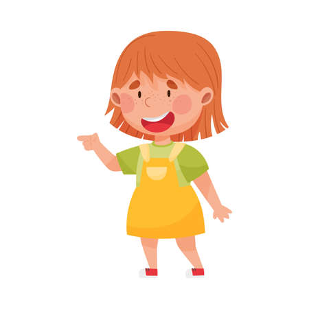 Smiling Girl Character with Red Hair Pointing at Something with Her First Finger Vector Illustration Ilustração