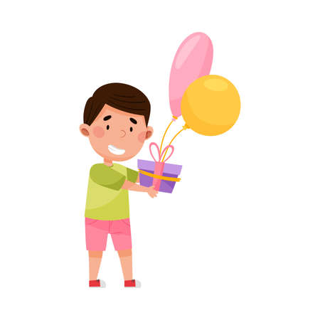 Joyful Boy Character Holding Gift Box with Balloon Vector Illustration