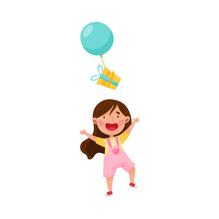 Cute Girl Character Catching Gift Box with Balloon Vector Illustration Ilustração