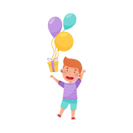 Cheerful Boy Character Catching Gift Box with Balloon Vector Illustration Ilustração