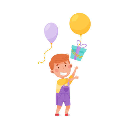 Joyful Boy Character Catching Gift Box with Balloon Vector Illustration
