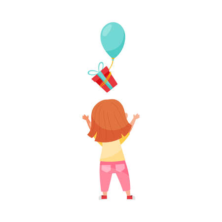 Cute Girl Character Throwing Gift Box with Balloons Vector Illustration